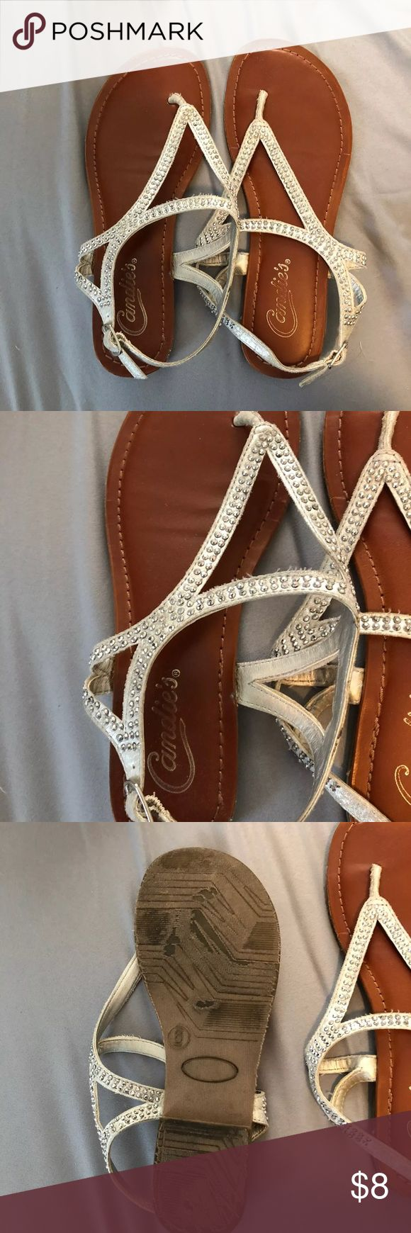 Sparkly sandals Sparkly sandals with rhinestones. Definitely used, but still in good condition. size 6, candies brand. Candie's Shoes Sandals