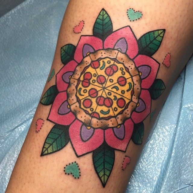Pizza geo-flower on Erica. Thank you!! By Alex Strangler