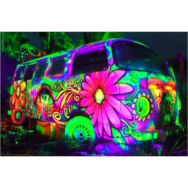 Paint a hippie van with glow in the dark paint. This is sooooo cute!