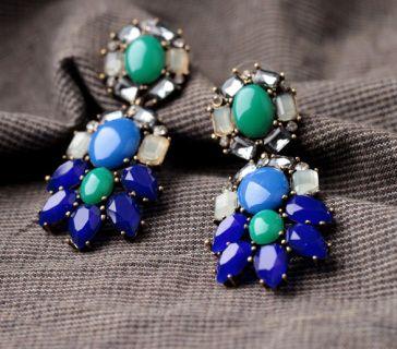Suzie Blue Gorgeous Big Statement Gem Earrings  Earrings Size: 6.6cm approx
