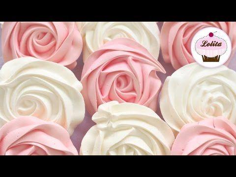 Receta de rosas de merengue duro | Suspiros en forma de rosas | Receta de merengue suizo - YouTube