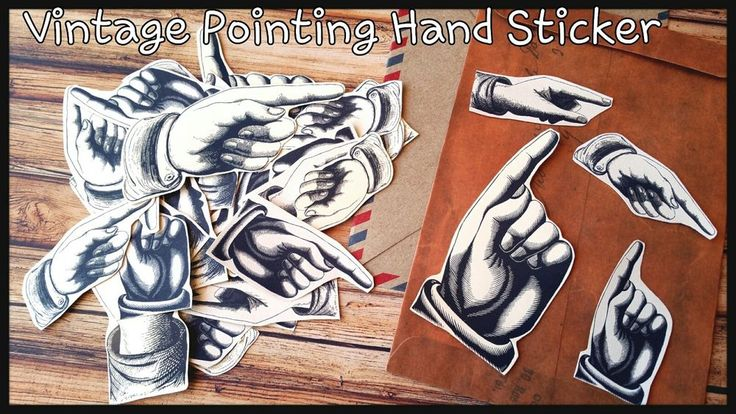 Pointing Hand,Vintage Scrapbook paper embellishments,Vintage Planner Stickers
