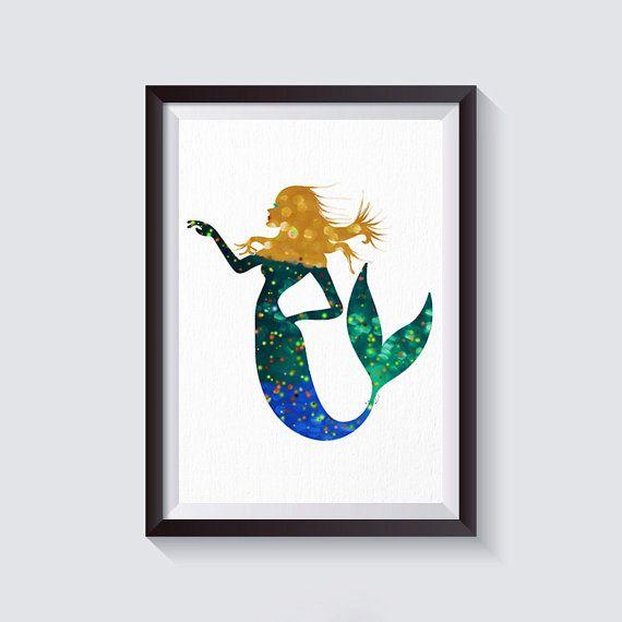 Mermaid print mermaid art watercolor mermaid living room