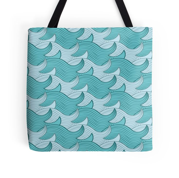 California Surf Wave Pattern Illustration by Gordon White | California Surf Large Tote Bag Available @redbubble --------------------------- #redbubble #stickers #california #losangeles #la #surf #wave #cute #adorable #pattern #totebag #bags