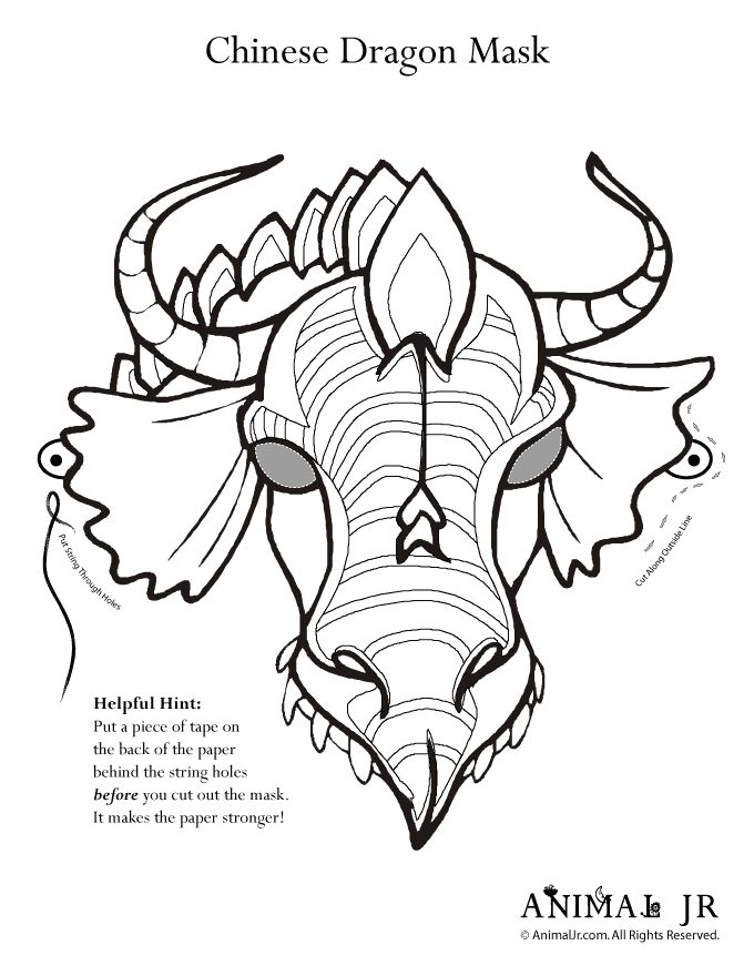 chinese dragon face template - 17 best images about chinese masks on pinterest coloring