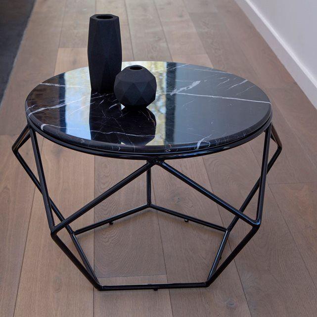 table basse ronde metal noir et marbre table de salon mobilier graphique séjour TIKAMOON