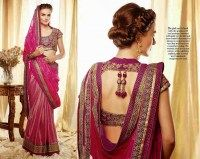 Awesome Embroidery Work On This Beautiful Pink Color Designer Sari