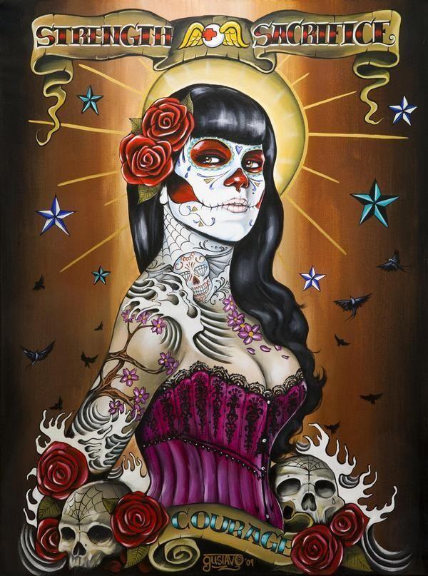 """Strength and sacrifice"" Art by Gustavo Rimada . Sugar skull art"