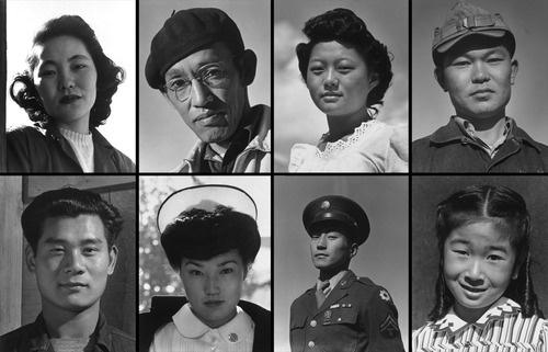 Portraits of evacuees housed in the Manzanar Relocation Center in California, taken by Ansel Adams in 1943. Clockwise, from top left: Mrs. Kay Kageyama, Toyo Miyatake (Photographer), Miss Tetsuko Murakami, Mori Nakashima, Joyce Yuki Nakamura (eldest daughter), Corporal Jimmy Shohara, Aiko Hamaguchi (Nurse), Yoshio Muramoto, (electrician). At its peak, more than 10,000 Japanese Americans were held in Manzanar.