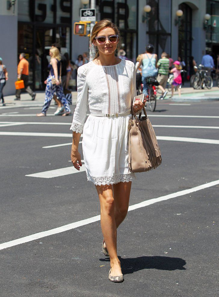 Pin for Later: Wait Till You See the Handbag Olivia Palermo Designed  Olivia kept her daytime look demure in a white frock, feminine flats, and a trusty tan handbag.