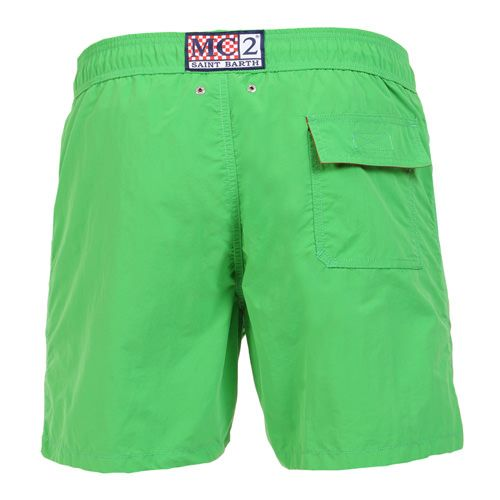 GREEN OWNER SWIM SHORTS WITH EMBROIDERY WRITING Solid green OWNER long Swim Shorts. Saint Barth LA COTONE DU VENT MC2 embroidery on front at lateral side. Two side pockets. Back Velcro flap pocket. MC2 label on waist to the reverse. Elastic waistband with adjustable drawstring. Internal net. COMPOSITION: 100% NYLON. Model wears size M, he is 189 cm tall and weighs 86 Kg.