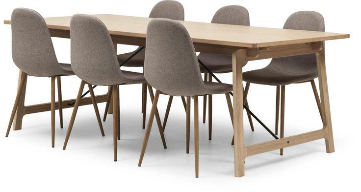 Blond matbord 6 stolar i vit vaxlackad ek med detaljer i svart metall