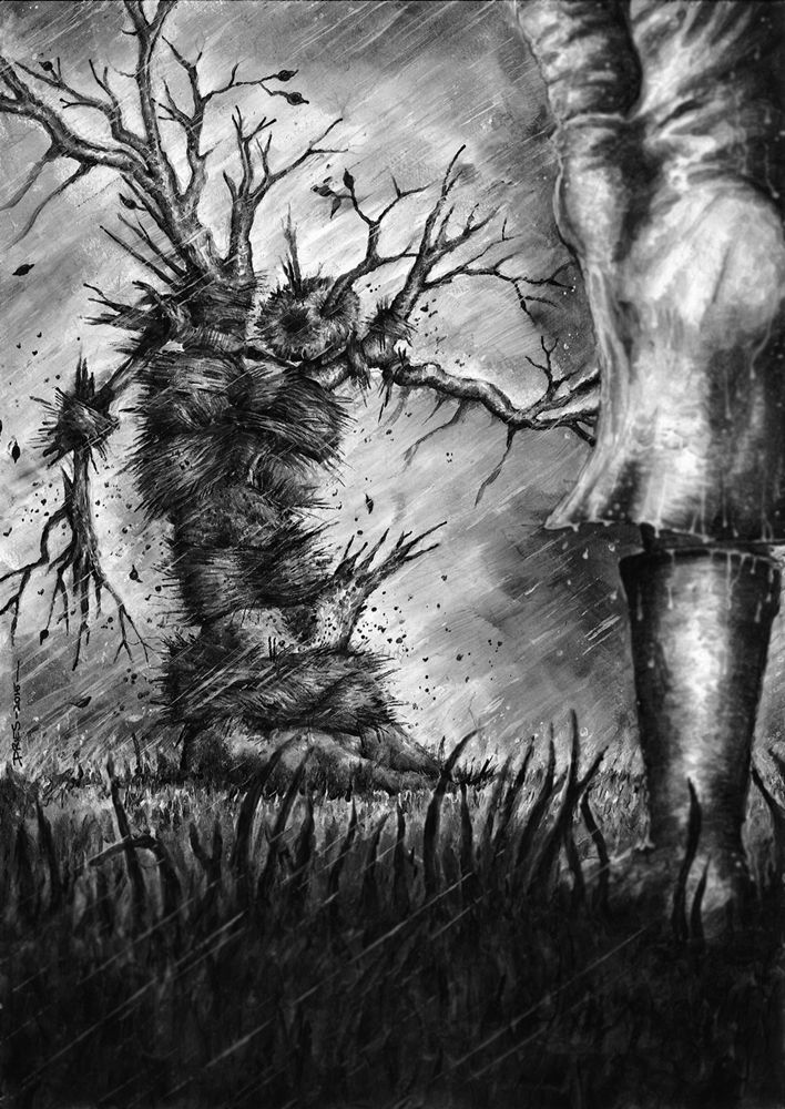 "Aaron Dries' artwork for Tim Lebbon's ""The God of Rain."""