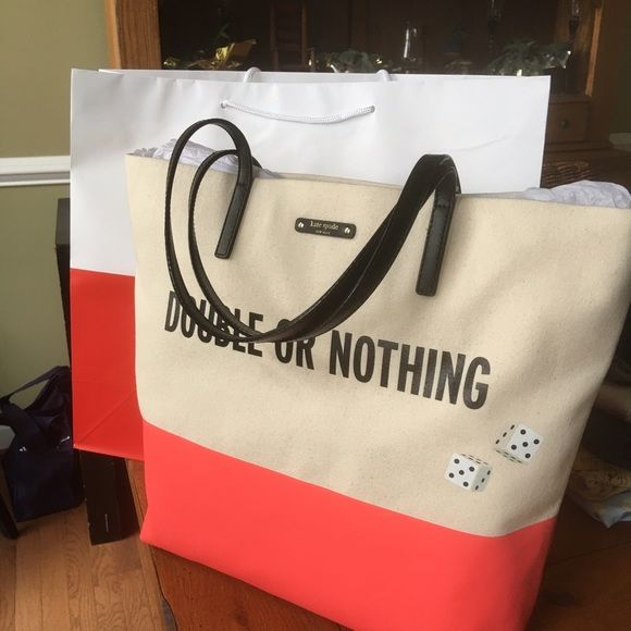 Gorgeous Large Tote Kate Spade New Large tote new with tags canvas with leather straps kate spade Bags Totes