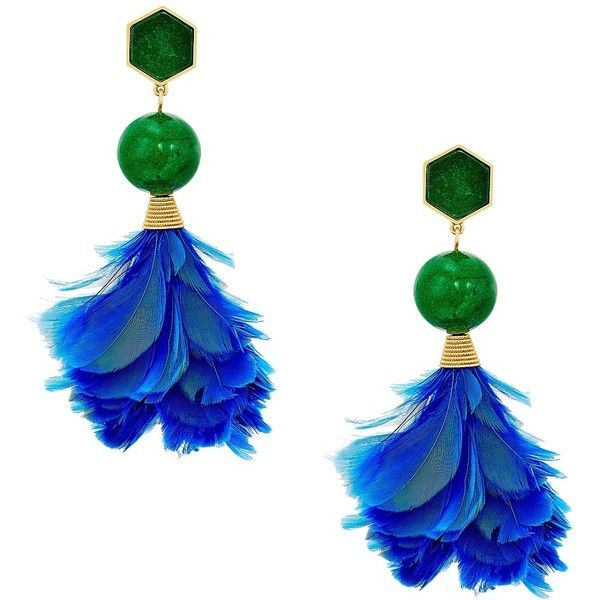 Tory Burch Feather Drop Earrings (Lapis/Vintage Gold) Earring (10.245 RUB) ❤ liked on Polyvore featuring jewelry, earrings, feather earrings, gold drop earrings, drop earrings, feather drop earrings and yellow gold drop earrings