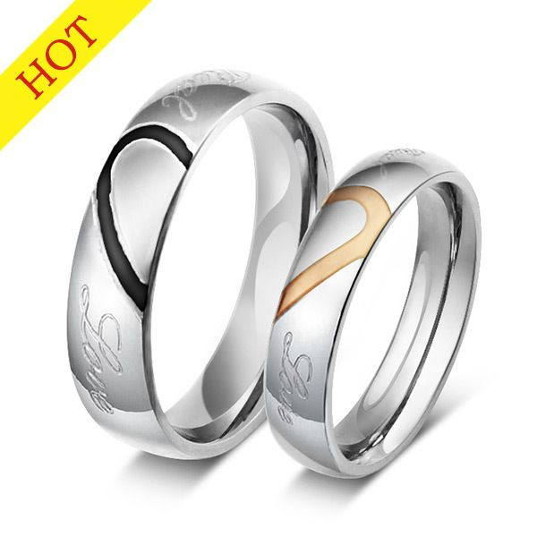 Find More Wedding Bands Information about fashion love heart ring for couples jewelry silver plated stainless steel wedding rings for 1pcs,High Quality ring pad,China ring connector Suppliers, Cheap ring illuminator from NY jewelry (no min order) on Aliexpress.com