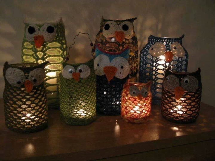 Owl lanterns.  Crocheted yarn over mason jars.  So cute.  I hope that I can find a pattern for these.
