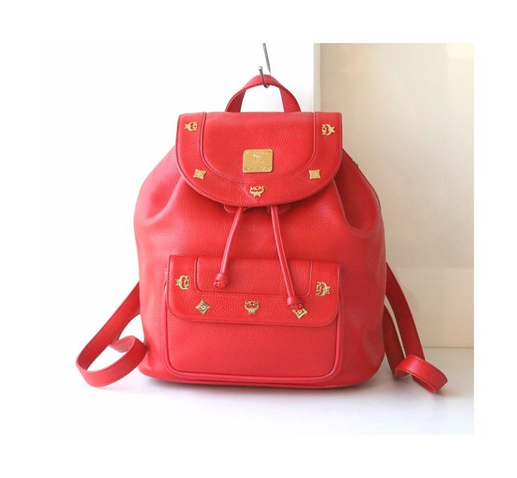 MCM Bag Red Leather Large Backpack Vintage Authentic Handbag by hfvin on Etsy  #MCM #Red #backpack #vintage #authentic #hfvin.com
