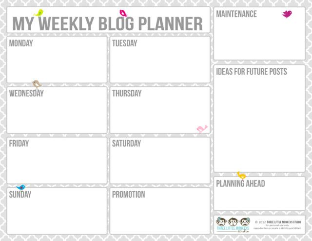 Roundup 20 Free Printable Blog Planners for bloggers