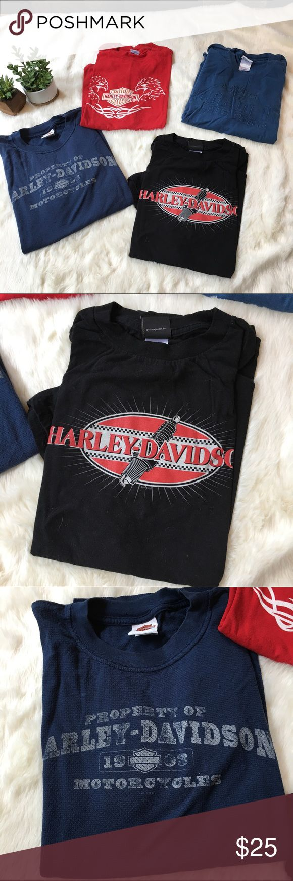 4 Harley Davidson t-shirts 4 gently used Harley shirts. 3 sized XL and 1 2X. From Harley dealers in CO, HI, Mexico & PA. Harley-Davidson Shirts Tees - Short Sleeve