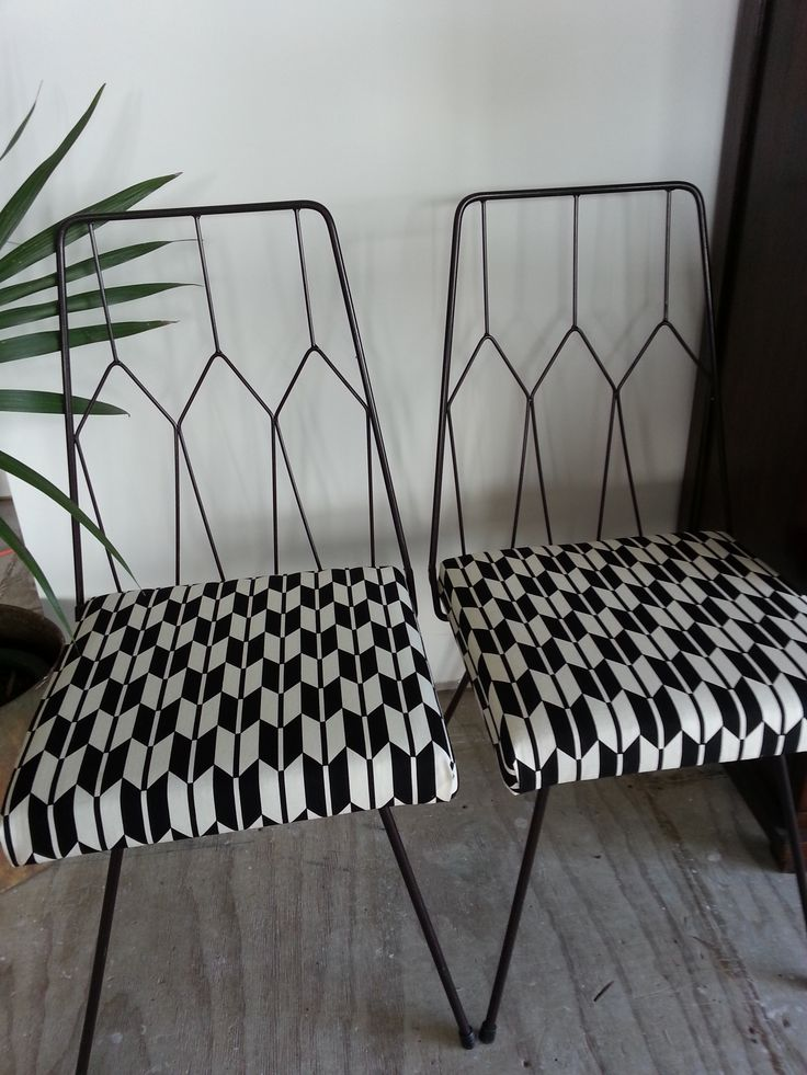 A gorgeous pair of 70's wire chairs which I picked up from a transfer station. Recovered in a graphic geometric print.