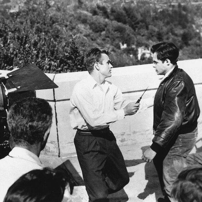 StoneRozes — James Dean & Corey Allen  On the Set of Rebel