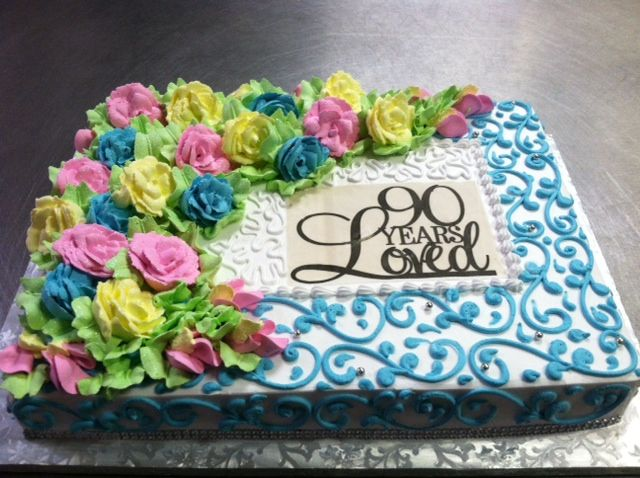 90th birthday party, 90 years loved sheet cake with buttercream icing and edible image.