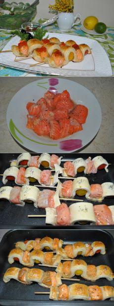 Интересное блюдо на шпажках из рыбы и слоеного теста