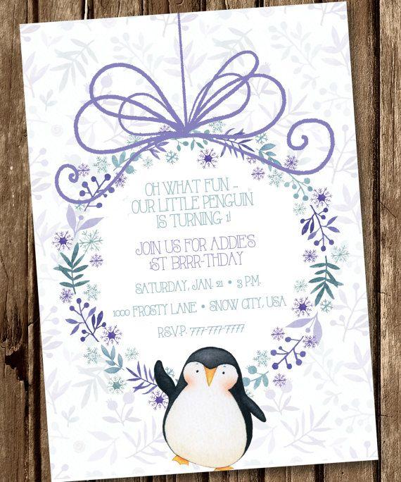Little Penguin Birthday Invitation, Penguin Birthday Invitation, Onederland Birthday Invitation, Winter Birthday Invitation
