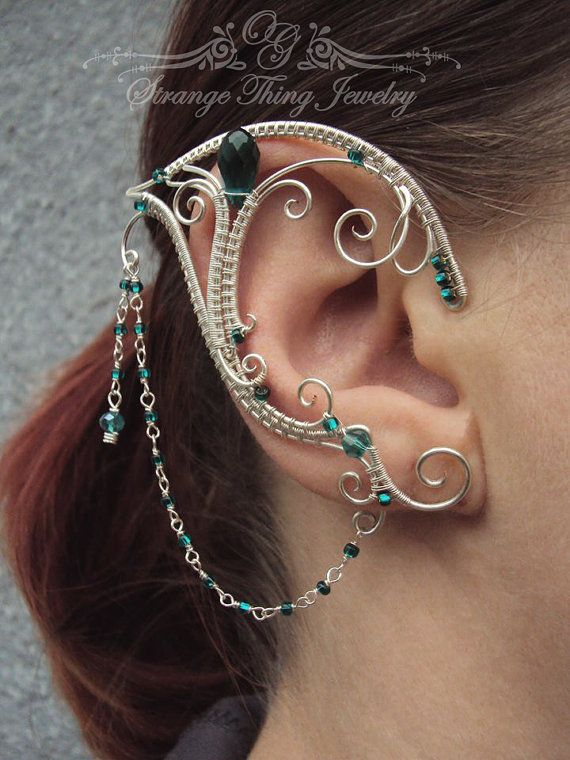 Pair of elven ear cuffs Emerald Love by ...