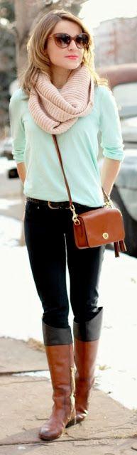 mint sweater, black skinny jeans, cream infinity scarf