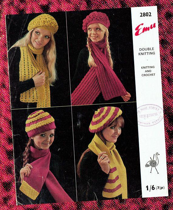 Original Vintage Womens Ladies Beret Hat & Scarf Knitting