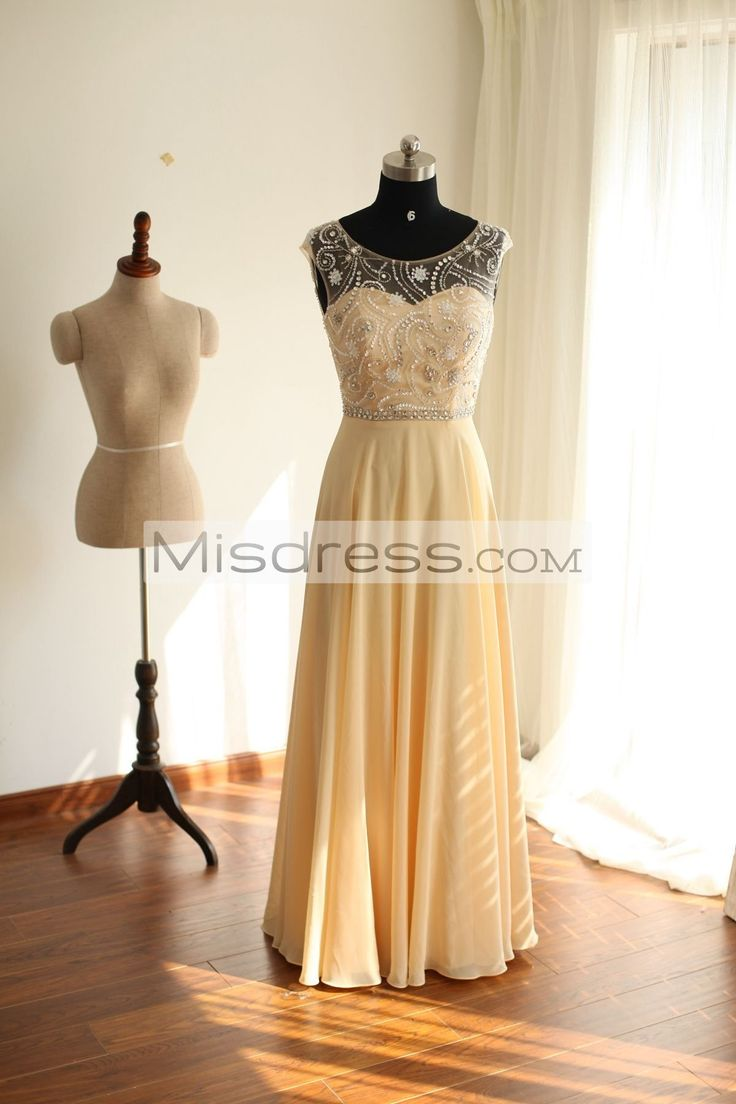 Sheer See Through Backless Champagne Chiffon Long Bridesmaid Dress / Prom Dress