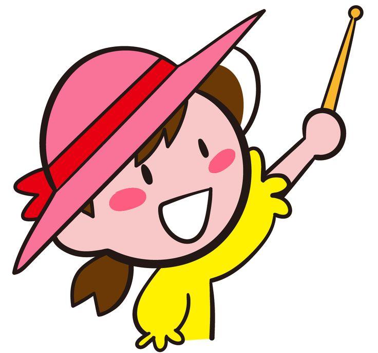 指示棒で指し示す麦わら帽子をかぶった少女 作業指示 イラスト