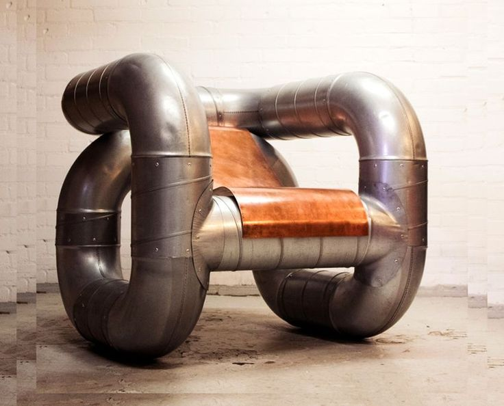 Spanish designer's upcycled chair made from industrial pipes