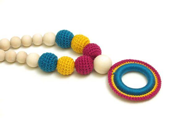 Crochet necklace teething necklace breastfeeding necklace