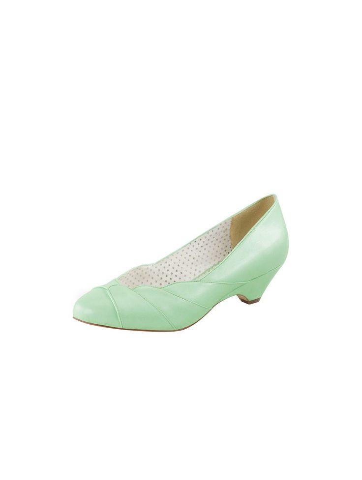 Escarpin Pinup petit talon de coloris vert menthe Cet escarpin s'affirme d'un…