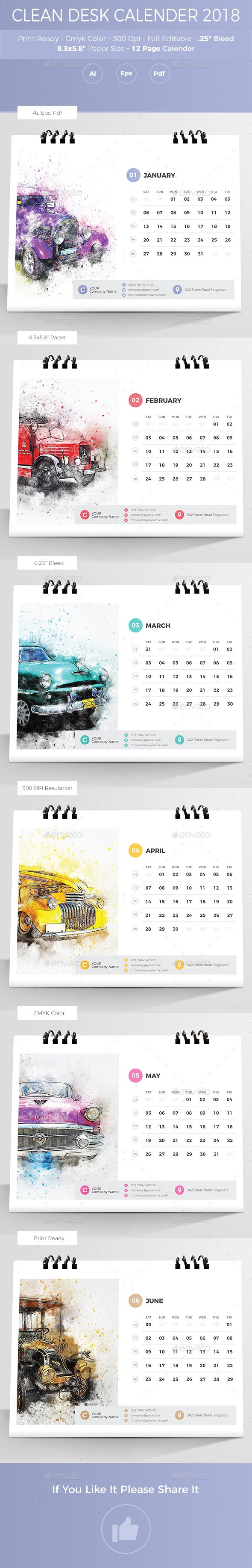 Clean Desk Calender 2018 Template Vector EPS, AI Illustrator