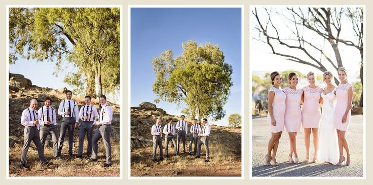 Bridal party at Mt Brown lookout for wedding photos, York, Western Australia