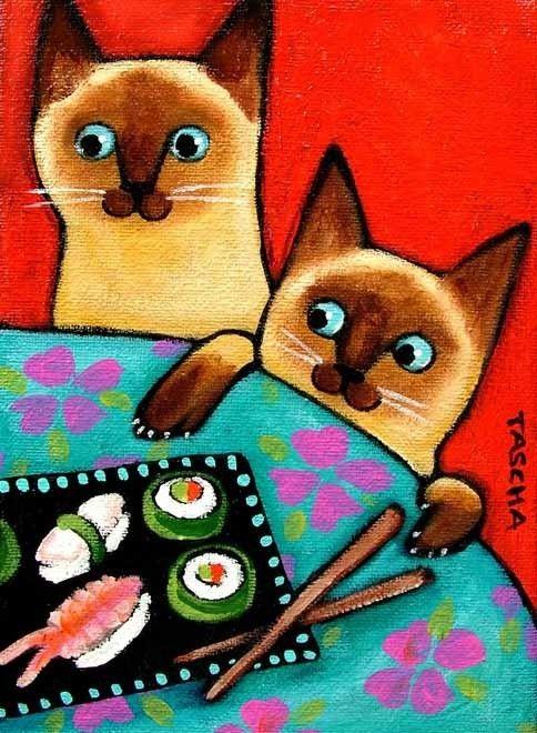 Siamese Cat and Sushi print 5x7 by tascha on Etsy. $14.00, via Etsy.
