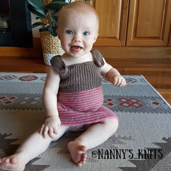 Knitted Baby Pinafore Crocheted Dress by NannysKnitsShop on Etsy