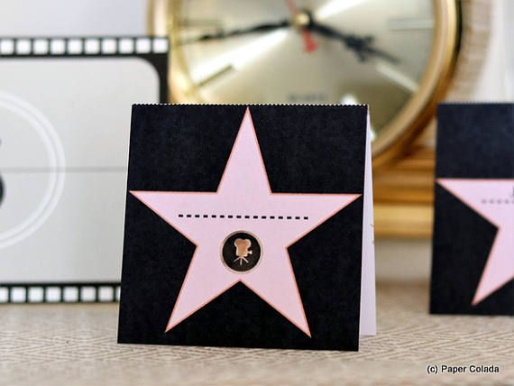 Printable Old Hollywood theme Party Decorations place cards, Walk of fame star names cards, Movie themed wedding place cards *DIGITAL FILE