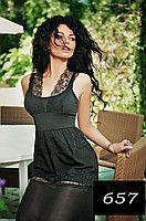 Черный сарафан летний с отделкой из кружева. Материал: шифон, кружево и трикотаж микродайвинг.  Цвет: черный.  Размеры: 42, 44, 46. Длина 152 см.