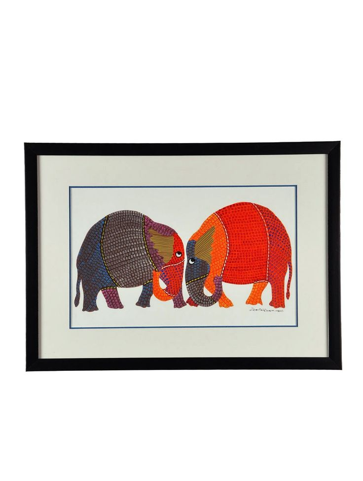 buy multicolor elephant gond art frame work on paper and black polycarbonate with moulding home decor