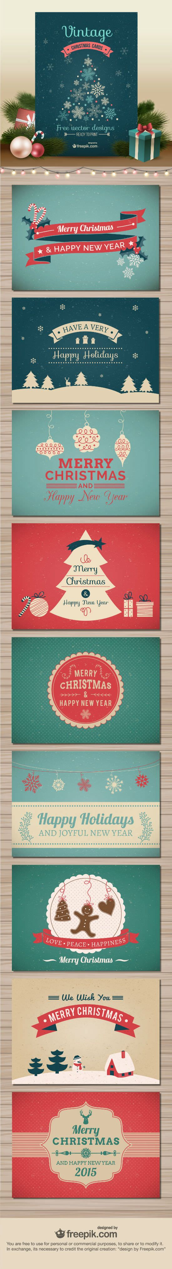 10 Free Vector Christmas Cards Created by Freepik; Exclusively Available Here                                                                                                                                                                                 More