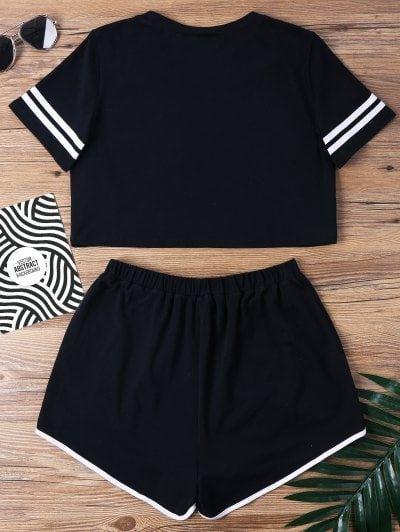 Conjunto de dos piezas de pantalones de muesca con contraste de unión – S negro