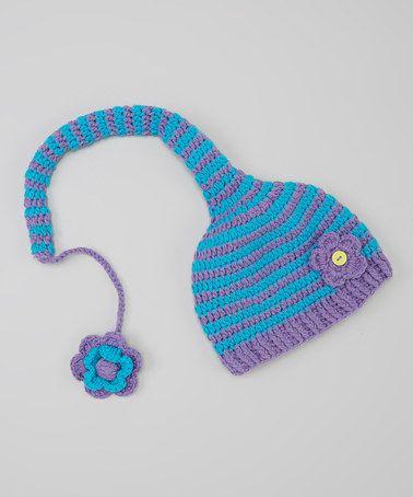 Must make similar - reminds me of Dr. Seuss!  Purple & Aqua Stripe Flower Beanie Color inspiration