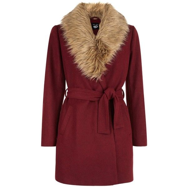 New Look Teens Burgundy Wrap Front Faux Fur Collar Coat found on Polyvore featuring outerwear, coats, burgundy, red coat, faux fur collar coat, new look coats and burgundy coat