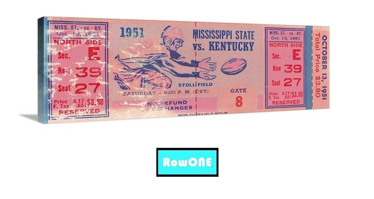 #UK #Wildcats #fathersdaygifts #fathersday2015 #bbn #growthhacking #digital #marketing Best Father's Day Gifts 2015. Best Father's Day sports gifts. 1951 Kentucky Wildcats football ticket canvas art. Bear Bryant was the coach for Kentucky. Row One Brand. Best Father's Day Gifts for sports fans.