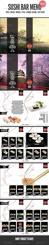 Sushi Bar Menu - #Food #Menus Print #Templates Download here: https://graphicriver.net/item/sushi-bar-menu/6637003?ref=alena994